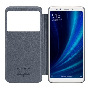 Чехол книжка с окном NILLKIN Sparkle leather case для Xiaomi Mi 6x / A2 (Gray)