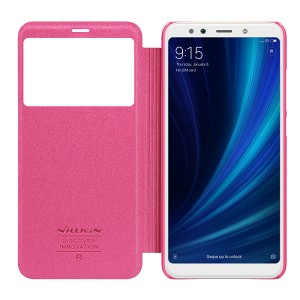 Чехол книжка с окном NILLKIN Sparkle leather case для Xiaomi Mi 6x / A2 (Pink)